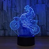 3D Lampe Illusion Optique LED Veilleuse, EASEHOME Optiques Illusions Lampe de Nuit 7 Couleurs Tactile Lampe de Chevet Chambre Table Art Déco Enfant Lumière de Nuit avec Câble USB, Vélo de Motocross...