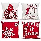 Comoco Weihnachten Serie Gestickt Baumwolle Leinen Dekorativ Kissenbezug Kissen Abdeckung für Sofa Dekokissen Fall 4 Pcs- Bündel von B