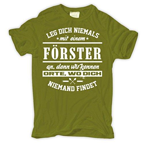 Männer und Herren T-Shirt Leg dich niemals mit einem FÖRSTER an Moosgrün