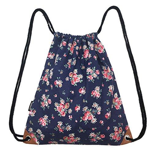 SAMGOO Segeltuch Sporttaschen Gym Sack Turnbeutel Sportbeutel, Beutel Tasche Tüte Rucksack Hipster für Reisen Sport (Marineblau Gänseblümchen Blumen) (Gym Sack Tasche)
