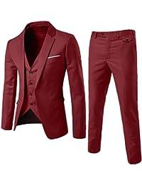 Herrenanzug Herren Slim Fit 3-Teilig Business Anzüge mit Weste Sakko Anzughose