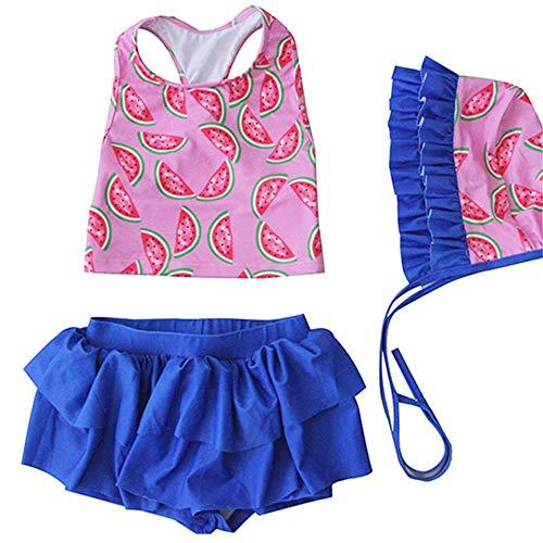 XIAOLULU-GS Mädchen Schwimmen Kostüm Mädchen Zweiteilige Badeanzüge Wassermelone Druckmuster Rüschen Weste Bikini Bademode Strand Badeanzug Set (Farbe : Rosa, Größe : L)