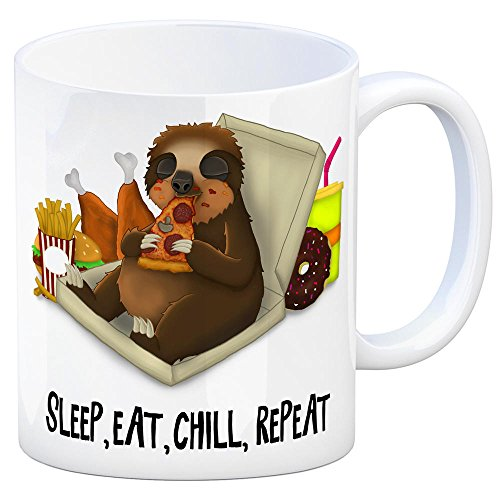 Kaffeebecher mit fressendes Faultier Motiv und Spruch: Sleep eat chill Repeat