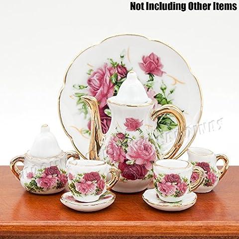 Odoria 1:6 Miniature 8PCS Porcelain Tea Cup Set Pink Rose Chintz with Gold Trim Dollhouse Kitchen Accessories