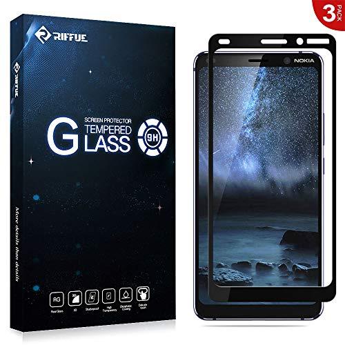 RIFFUE Panzerglas für Nokia9, Nokia 9 Schutzfolie, 3D Vollabdeckung Panzerfolie Screen Protector Tempered Glass Glas Folie [Schwarz] [3 Stück]