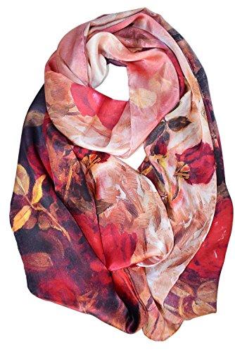 Elegna 100% Seide Luxuriöser Charmeuse Lange Schal Classic Red Rose (Luxuriöse Charmeuse 100% Seide)