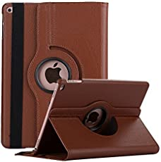 Robustrion Smart 360 Degree Rotating Stand Case Cover For New iPad 9.7 inch 2018/2017 5th 6th Generation Model A1822 A1823 A1893 A1954 & ipad Air 2013 A1474 A1475 A1476 A1566 A1567 - Brown
