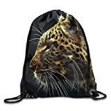 Funny&shirt Drawstring Backpack Rucksack Shoulder Bags Leopard Drawstring Backpack Rucksack Shoulder Bags Training Gym Sack for Man and Women