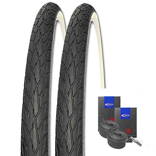Set: 2 x Schwalbe Road Cruiser schwarz-Weiss 37-622 / 28x1.40 + Schwalbe Schläuche Dunlopventil -