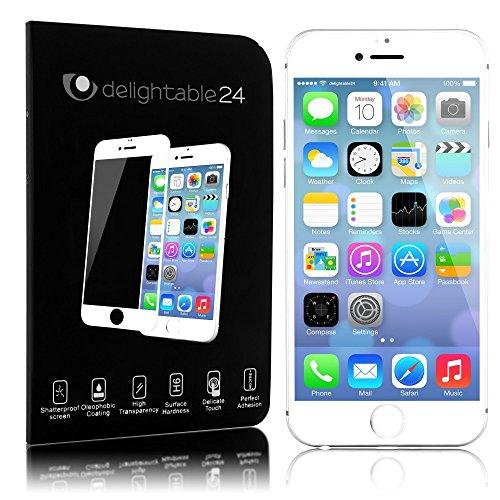 delightable24 Pellicola Protettiva Vetro Temprato Glass Screen Protector 3D rotonda del bordo 100% di vetro Smartphone APPLE IPHONE 6 PLUS / 6S PLUS (5,5') - Transparente (Bianco)