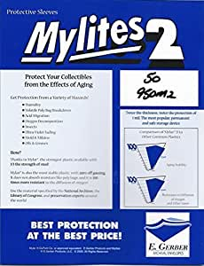 """Mylites 2 Mylar Sleeves for Sheet Music & Large Magazines 9-1/2"""" x 12-1/2"""" - Pack of 50! by E. Gerber"""