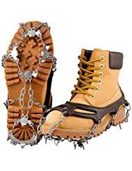 Plemo Steigeisen, Spikes für Schuhe Grödel Steigeisen mit 18 Zähne Eisspikes Schuhkrallen Silikon Schneeketten für Schuhe/Stiefel Anti Rutsch Spikes für Bergsteigen Wandern Jogging (M/L)
