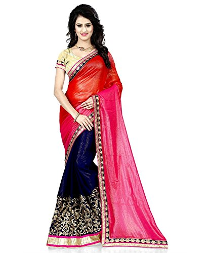 Women's Ethnic Clothing Pink Orange Blue Georgette Zari Work Embroidered Lace Border Half & Half Pattern Sarees For Women Party Wear Offer Latest Designer Wedding New Collections Sari With Designer Blouse Piece Today Low Price Offers In Exclusive Designs by Aracruz  available at amazon for Rs.827