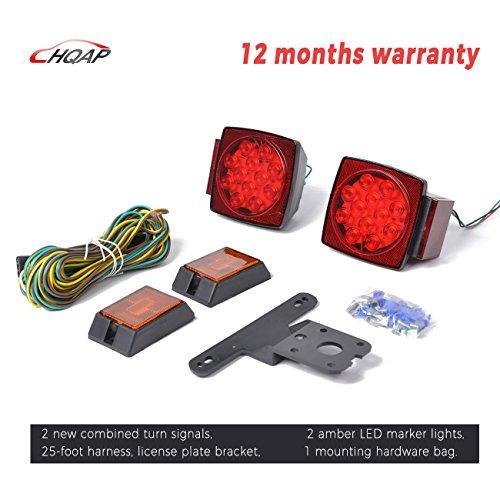 HQAP 12V LED Rücklichter Blinker Anhänger Licht Kit Wasserdichte - Neuer kombinierter Anschlag, Rücklichter, Blinker, Gelbe LED-Markierungslichter, 25-Fuß-Harness, Kennzeichenhalter