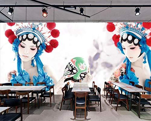 Zooyx 3d tapete Kundenspezifisches Chinesisches Wind-Drama, Das Schönheits-Kostüm-Hotel-Restaurant-Hintergrund- Wandwandfoto Entlastet-350Cmx245Cm