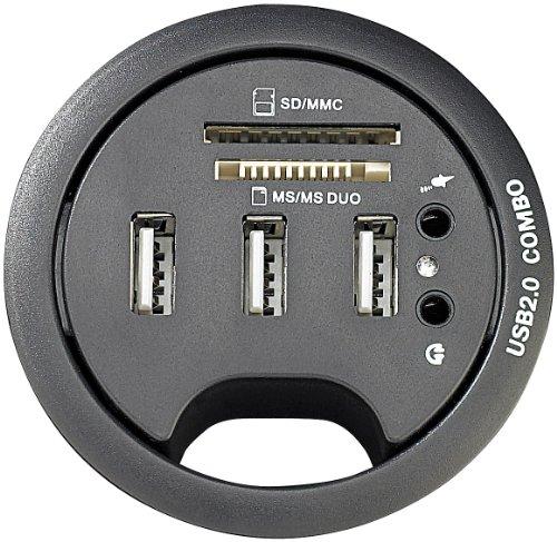 Xystec Tisch USB Dose: Tisch-Kabeldose 60 mm, USB-2.0-Hub, Card-Reader, Audioanschluss (Tisch Steckdosenleiste mit USB) (Sd-card Reader Mit Kabel)