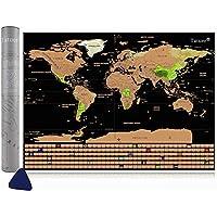 Mappa del Mondo, Tatuer Mappa del mondo da Grattare Scratch World Scrape off map Mappa del Mondo per Viaggi/Fai da te World Education Scratch Map - Scratch Paesi o Regioni Visitate- 59.5*42CM