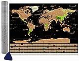 Tatuer Mappa del Mondo, Mappa del mondo da Grattare Cartine Mondo da Grattare Mappa del Scratch per Viaggi/Fai da te World Education Scrape Map - Scratch Paesi o Regioni Visitate- 59.5*42CM