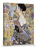 1art1 56499 Gustav Klimt - Dame Mit Fächer, 1917-18 Poster Leinwandbild Auf Keilrahmen 50 x 40 cm