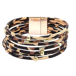 Armband Leder Knotenarmband für Frauen | Multilayer Wickel Wristband Mode Leopard | Wickelarmband mit Perlen, Ketten, Anhänger, Magnetverschluss, Armband | Tolle Geschenkidee