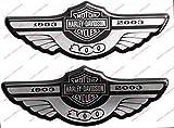 Stemma logo decal HARLEY DAVIDSON, Centenario 1903-2003, SILVER, coppia adesivi resinati, effetto 3D. Per SERBATOIO o CASCO