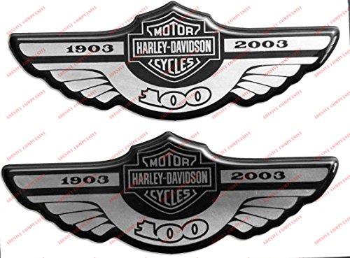 Escudo Logo calcomanía Harley Davidson, centenario 1903–2003, plateado, par de pegatinas resinatas,...