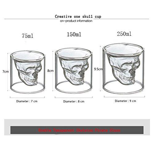 Creative One Skull Cup, doppeltem transparent Skelett Pirat Glas für Bier/Cocktail Glas/Wodka Glas/Wein Glas..., glas, weiß, M L (Cocktails Wodka Halloween)