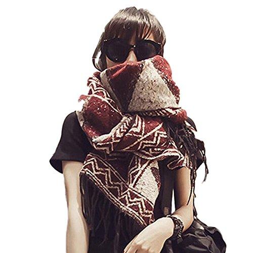 Beatayang D écharpe de châle Cozy Blanket pour femmes Lady (Rouge) a9b52042019