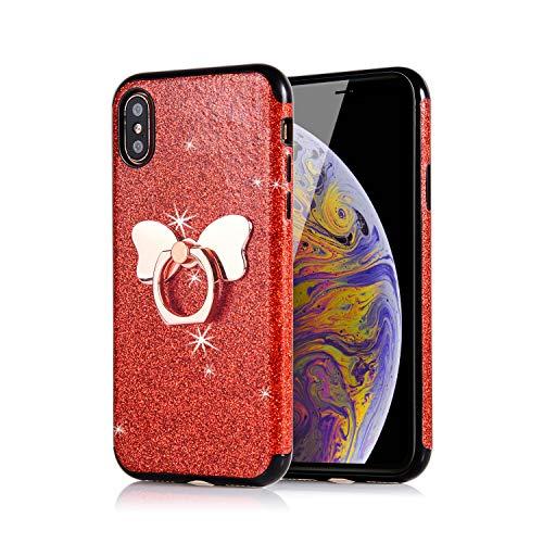 Preisvergleich Produktbild Misstars Glitzer Hülle für iPhone XR Rot,  Bling Pailletten Weiche TPU Silikon Handyhülle Anti-Rutsch Kratzfest Schutzhülle mit Schmetterling Ring Ständer für Apple iPhone XR (6, 1 Zoll)