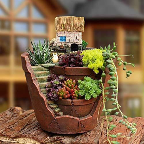 qingsb süßer Mini-Blumentopf für Sukkulenten/Bonsai-Topf/Mikro-Landschaft/Gartendekoration (Miniatur-sonnenschirm)