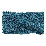 Sanwood Damen Häkelarbeit Schleife Design Stirnband Winter Kopfband Haarband (Grün)