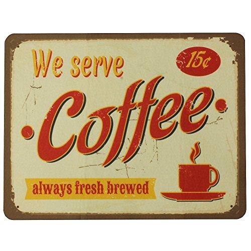 Nostalgische Unterlage 'We serve coffee' für Kaffemaschinen, Kaffeevollautomaten, Wasserkocher und...
