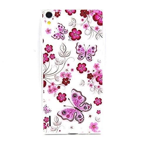 Meet de Coque pour Huawei Ascend P7 (5 pouces), Huawei Ascend P7 (5 pouces) Bumper Case, Slim de Protection Téléphone Case , (motifs peints) Coque / Housse Silicone / Etui Case / Cover / Transparent Crystal Clair Soft Gel TPU pour Huawei Ascend P7 (5 pouces) -