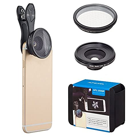 Apexel Telefon Objektiv 2 in 1 Handy Kamera Objektiv Kit 20X Makro Objektiv + 6 Punkt Star Filter Clip-on Smartphone Objektiv Kit für iPhone 7 / 6s Samsung S8 Android Smartphones