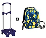 Zaino SEVEN - THE DOUBLE CAMOUFLAGE Blu + EASY TROLLEY - cuffie stereo con grafica abbinata incluse! 2 zaini in 1 REVERSIBILE