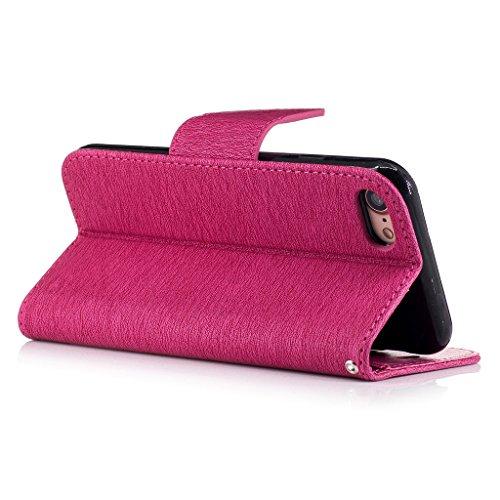 Crisant 3D Kettensägen-Bär Drucken Design schutzhülle für Apple iPhone 7 4.7'' (4,7''),PU Leder Wallet Handytasche Flip Case Cover Etui Schutz Tasche mit Integrierten Card Kartensteckplätzen und Ständ Rose