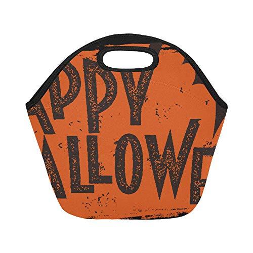 Isolierte Neopren-Lunch-Tasche Happy Halloween Text Banner Große wiederverwendbare thermische dicke Lunch-Tragetaschen für Lunch-Boxen für draußen, Arbeit, Büro, Schule