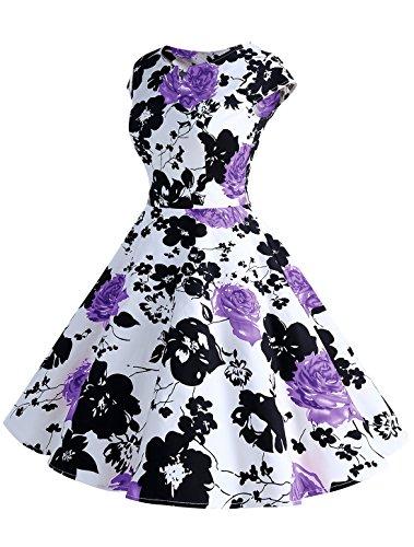 Wedtrend Damen 50er Hepburn Stil Vintage Cap Sleeves Dot Einfarbig Rockabilly Kleid Swing Kleider Schwarz Lila