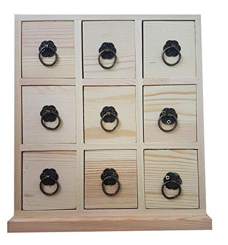takestop® Kommode mit 9Schubladen 24x 20cm Behälter aus Holz Schmuckschatulle Decoupage Schatulle Kleinteile Schmuckkästchen Freuden