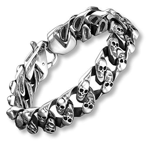 Urban Jewelry 22 cm Stainless Steel Silver Tone Mini Skull Heads Link Chain Bracelet for Men