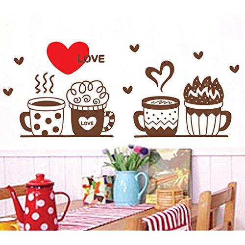 Vasi Tazza a forma di cuore decorazioni adesivo da parete in vinile, removibile salone camera da letto Cucina Art Picture in PVC Stick decorazione per porta/finestra + 3d rana regalo adesivo per auto