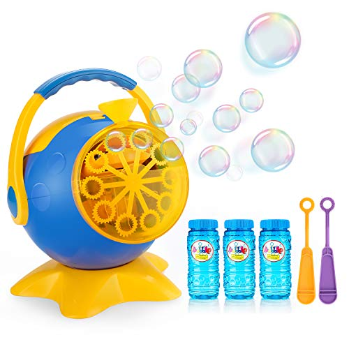 Apiker Seifenblasenmaschine mit 3 Flaschen von Flüssigkeit, Automatische Bubble Maschine angetrieben von Batterie oder Stecker, Perfektes Ideal für Hochzeit, Party und Geburtstag