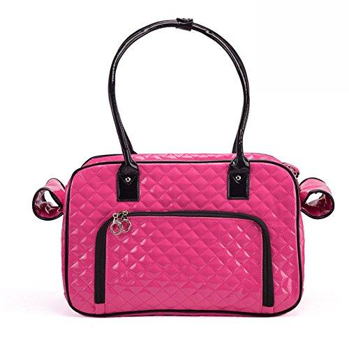 B-JOY Hohe Qualität Haustier Hund Träger, zwei große Rückentaschen, zwei Seitenscheiben, Hundetaschen Tote Tasche Mode PU Leder Handtasche Plaid Reisegeldbörse - One Size (Rosa) -