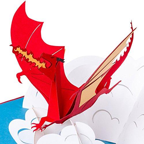 3D Geburtstagskarte - Feuerspeiender Drache auf Wolke - Fantasy Pop up Karte, Grußkarte, Glückwunschkarte Geburtstag, Grußkarte, Geschenkkarte, Happy Birthday Card, Geburtstagskarten