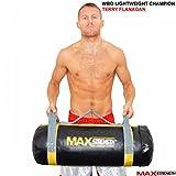 MAXSTRENGTH/10 kg/15 kg/20 kg, 25 kg, Stärke, 30 kg Powerbag Fitness Boxen MMA Sandsack Griffe Cross-Fit Schwarz / Gelb 10 kg