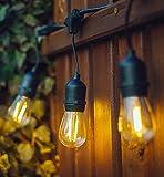 Lichterkette Leucht Steckdosen,KINGCOO Heavy Duty Vintage Edison Anschließbarer Strang Indoor Außen Commercial String Lights mit E27 Sockets (Birnen nicht inbegriffen) (48ft/15 Sockets)