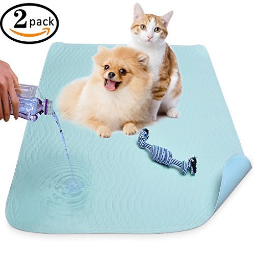 Washable Pee Pads for Dogs,Super Absorbent Pet Puppy Training Mat with Cotton Dog Chew Toy-2 Pack Quick-Dry,Machine Washable,Reusable 36″ x 31″