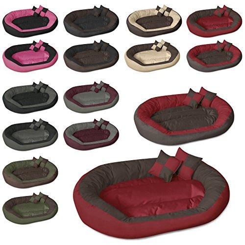 Beddog 4 in 1 letto per cane SABA L fino a XXXL, 7 colori a scelta, cuscino per cane, divano per cane, cestino per cane, marrone/rosso XL