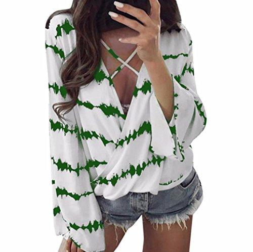 OVERDOSE Frauen Lose Langarm Shirt Streifen Tops Überlappend Chiffon-beiläufige  Bluse V-Ausschnitt Oberteil c8013aba51