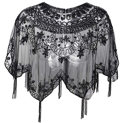 Kleid Pailletten Schwarzes Kostüm - ArtiDeco Damen Umschlagtücher für Abendkleid 1920s Retro Schal Hochzeit Party Braut Schal Gatsby Kostüm Accessoires (Schwarz)